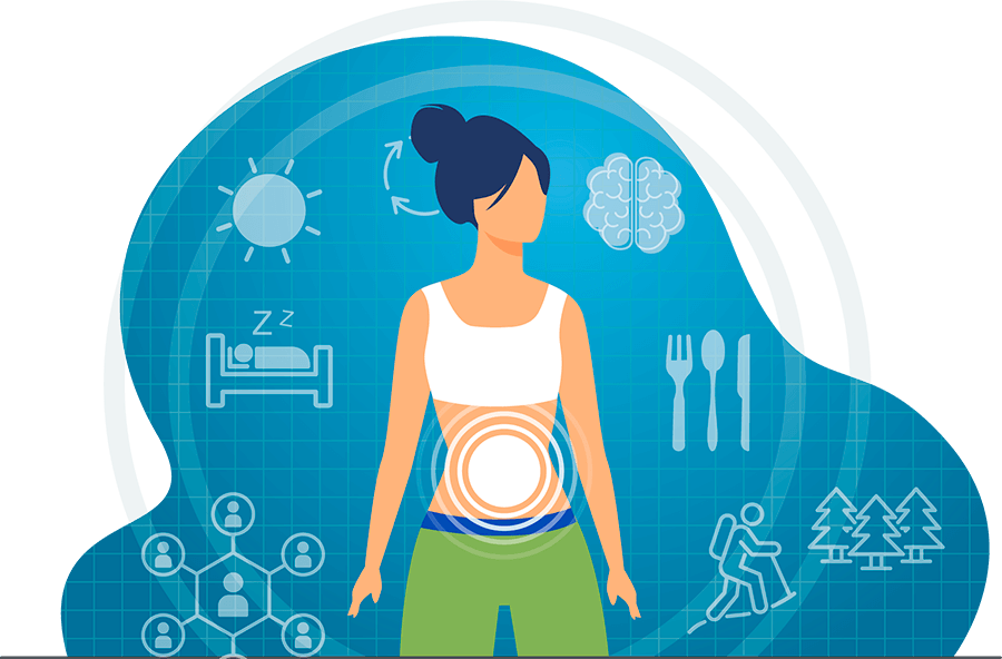 illustration depicting a woman and the determinants of gut health