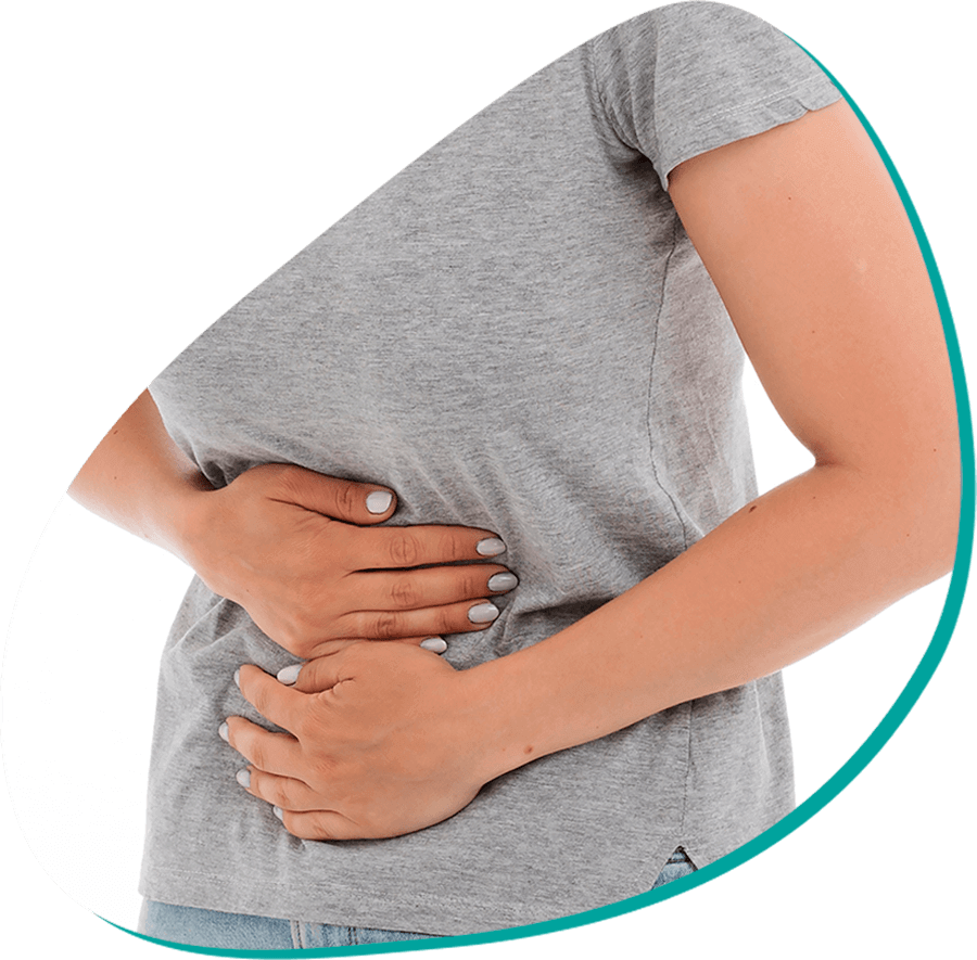 a person holding their stomach in pain